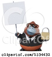 Clipart Of A 3d Business Orangutan Monkey Holding A Padlock On A White Background Royalty Free Illustration