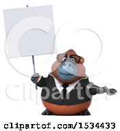 Clipart Of A 3d Business Orangutan Monkey Holding A Wrench On A White Background Royalty Free Illustration