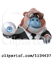 Clipart Of A 3d Business Orangutan Monkey Holding An Eyeball On A White Background Royalty Free Illustration