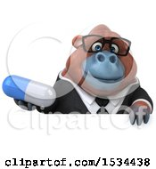 Clipart Of A 3d Business Orangutan Monkey Holding A Pill On A White Background Royalty Free Illustration