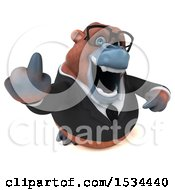 Clipart Of A 3d Business Orangutan Monkey Holding Up A Middle Finger On A White Background Royalty Free Illustration