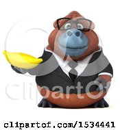 Clipart Of A 3d Business Orangutan Monkey Holding A Banana On A White Background Royalty Free Illustration