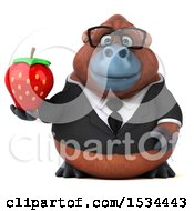 Clipart Of A 3d Business Orangutan Monkey Holding A Strawberry On A White Background Royalty Free Illustration