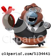 Clipart Of A 3d Business Orangutan Monkey Holding A Chocolate Egg On A White Background Royalty Free Illustration