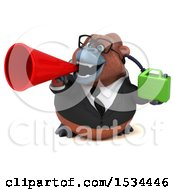 Clipart Of A 3d Business Orangutan Monkey Holding A Gas Can On A White Background Royalty Free Illustration