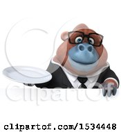 Clipart Of A 3d Business Orangutan Monkey Holding A Plate On A White Background Royalty Free Illustration