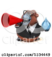 Clipart Of A 3d Business Orangutan Monkey Holding A Water Drop On A White Background Royalty Free Illustration