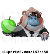 Clipart Of A 3d Business Orangutan Monkey Holding An Apple On A White Background Royalty Free Illustration