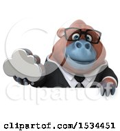 Clipart Of A 3d Business Orangutan Monkey Holding A Cloud On A White Background Royalty Free Illustration