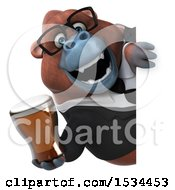 Clipart Of A 3d Business Orangutan Monkey Holding A Beer On A White Background Royalty Free Illustration