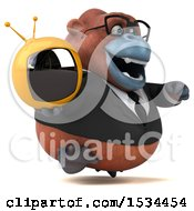 Clipart Of A 3d Business Orangutan Monkey Holding A Tv On A White Background Royalty Free Illustration