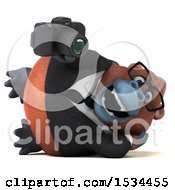 Clipart Of A 3d Business Orangutan Monkey Holding A Camera On A White Background Royalty Free Illustration