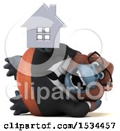 Clipart Of A 3d Business Orangutan Monkey Holding A House On A White Background Royalty Free Illustration