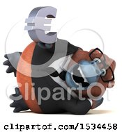 Clipart Of A 3d Business Orangutan Monkey Holding A Euro On A White Background Royalty Free Illustration