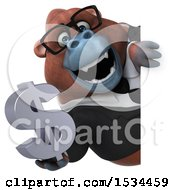 Clipart Of A 3d Business Orangutan Monkey Holding A Dollar Sign On A White Background Royalty Free Illustration