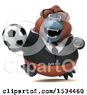 Clipart Of A 3d Business Orangutan Monkey Holding A Soccer Ball On A White Background Royalty Free Illustration