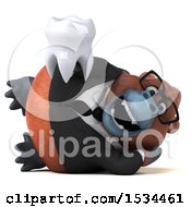 Clipart Of A 3d Business Orangutan Monkey Holding A Tooth On A White Background Royalty Free Illustration
