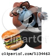 Clipart Of A 3d Business Orangutan Monkey Holding A Burger On A White Background Royalty Free Illustration