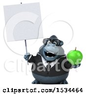 Clipart Of A 3d Business Gorilla Mascot Holding An Apple On A White Background Royalty Free Illustration