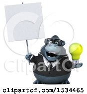 3d Business Gorilla Mascot Holding A Light Bulb On A White Background