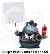Clipart Of A 3d Business Gorilla Mascot Holding A Soda On A White Background Royalty Free Illustration