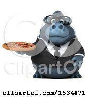 Clipart Of A 3d Business Gorilla Mascot Holding A Pizza On A White Background Royalty Free Illustration