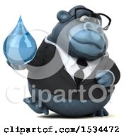 Clipart Of A 3d Business Gorilla Mascot Holding A Water Drop On A White Background Royalty Free Illustration
