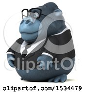 Clipart Of A 3d Business Gorilla Mascot On A White Background Royalty Free Illustration by Julos