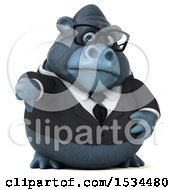 Clipart Of A 3d Business Gorilla Mascot Holding A Thumb Down On A White Background Royalty Free Illustration by Julos