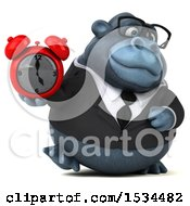 Clipart Of A 3d Business Gorilla Mascot Holding An Alarm Clock On A White Background Royalty Free Illustration by Julos