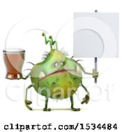 Clipart Of A 3d Green Germ Monster Holding A Beer On A White Background Royalty Free Illustration