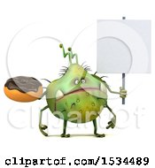 Clipart Of A 3d Green Germ Monster Holding A Donut On A White Background Royalty Free Illustration