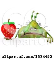 Clipart Of A 3d Green Germ Monster Holding A Strawberry On A White Background Royalty Free Illustration