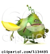 Clipart Of A 3d Green Germ Monster Holding A Banana On A White Background Royalty Free Illustration