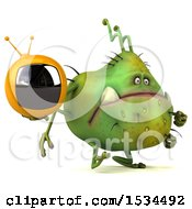 Clipart Of A 3d Green Germ Monster Holding A Tv On A White Background Royalty Free Illustration
