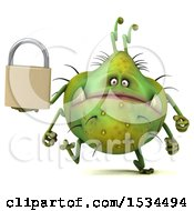 Clipart Of A 3d Green Germ Monster Holding A Padlock On A White Background Royalty Free Illustration
