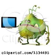 Clipart Of A 3d Green Germ Monster Holding A Tablet On A White Background Royalty Free Illustration