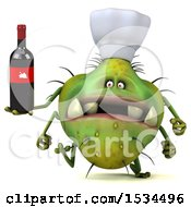 Clipart Of A 3d Green Chef Germ Monster Holding Wine On A White Background Royalty Free Illustration