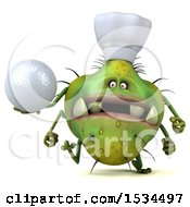 Clipart Of A 3d Green Chef Germ Monster Holding A Golf Ball On A White Background Royalty Free Illustration