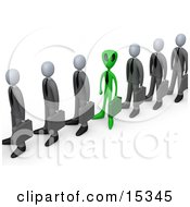Poster, Art Print Of Green Alien Carrying A Briefcase And Standing In A Line Of Human Businessmen Metaphor For Feeling Alienated Or Different