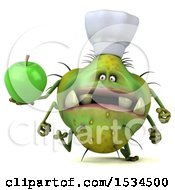 Clipart Of A 3d Green Chef Germ Monster Holding An Apple On A White Background Royalty Free Illustration