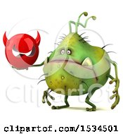 Clipart Of A 3d Green Germ Monster Holding A Devil On A White Background Royalty Free Illustration