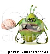 Clipart Of A 3d Green Germ Monster Holding A Brain On A White Background Royalty Free Illustration