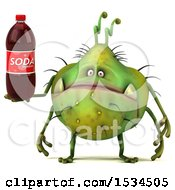 Clipart Of A 3d Green Germ Monster Holding A Soda On A White Background Royalty Free Illustration