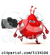 Clipart Of A 3d Red Germ Monster Holding A Camera On A White Background Royalty Free Illustration