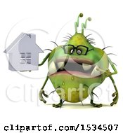 Clipart Of A 3d Green Germ Monster Holding A House On A White Background Royalty Free Illustration