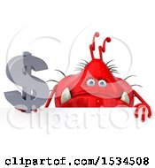 Clipart Of A 3d Red Germ Monster Holding A Dollar Sign On A White Background Royalty Free Illustration