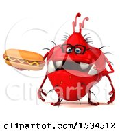 Clipart Of A 3d Red Germ Monster Holding A Hot Dog On A White Background Royalty Free Illustration