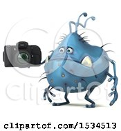 Clipart Of A 3d Blue Germ Monster Holding A Camera On A White Background Royalty Free Illustration