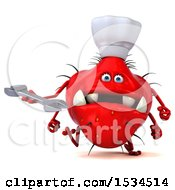 Clipart Of A 3d Red Chef Germ Monster Holding A Wrench On A White Background Royalty Free Illustration